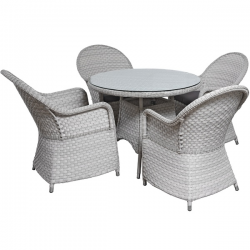 Hamptons Deluxe Garden Furniture Dining Set - Washed Grey Beige Colour