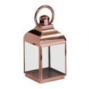 Small Square Polished Copper And Glass Lantern
