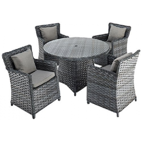 Port Royal Platinum Round Rattan Dining Set With 4 Chairs