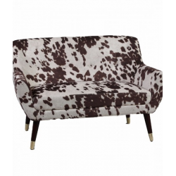 Brown Cowhide Style Fabric Retro 2 Seater Sofa