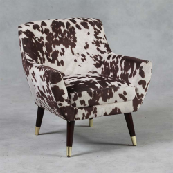Brown Cowhide Style Fabric Retro Armchair
