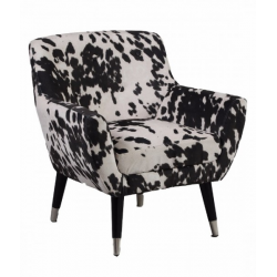 Black Cowhide Style Fabric Retro Armchair