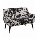 Black Cowhide Style Fabric Retro 2 Seater Sofa