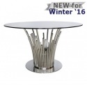 Lorenzo Metal & Glass Dining Table Polished Steel