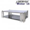 Lorenzo Metal & Glass Rect Coffee Table Polished Steel