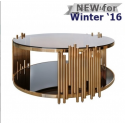 Lorenzo Metal & Glass Round Coffee Table Rose Gold