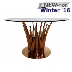 Lorenzo Metal & Glass Dining Table Rose Gold