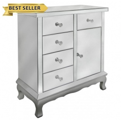 Mirror Cabinet With Silver Trim With Crystal Handles