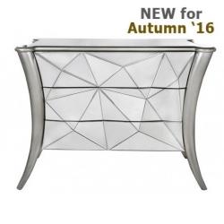 Glacier 3 Drawer Mirror Cabinet Silver Trim