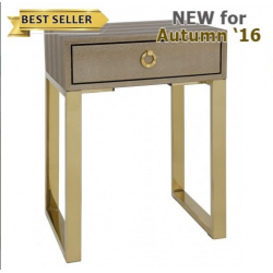 Gold 1 Drawer Faux Lizard Skin End Table