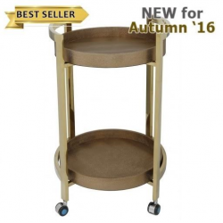 Gold Faux Lizard Skin 2 Tier Drinks Trolley