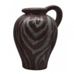 Brown Zebra Handled Urn Vase