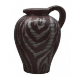 Brown Zebra Handled Urn Vase