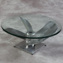 Large Antiqued Aluminium Propeller with Glass Top Coffee Table