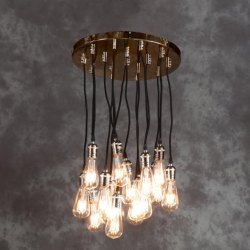 Vintage Copper Retro 16 Light Multi Pendant with Black Fabric Flex