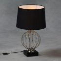 Chrome Cage Sphere Table Lamp with Black Shade