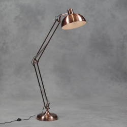 Vintage Copper XXL Classic Desk Style Floor Lamp (Black Fabric Flex)