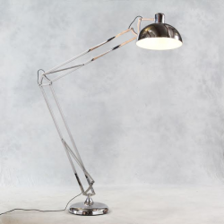 Chrome XXL Classic Desk Style Floor Lamp (Black Fabric Flex)