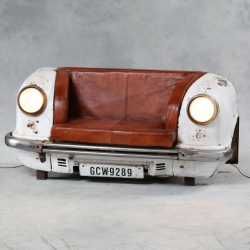 Upcycled Front End Classic Car Leather Sofa