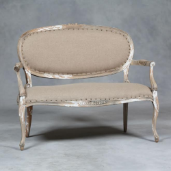 Antiqued Wood and Linen Occasional Armed Double Chair