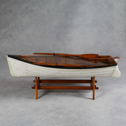 "Antiqued ""Marine"" Wooden Rowing Boat Coffee Table with White Hull"
