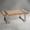 Hoxton Rustic Wood and Stainless Steel Coffee Table