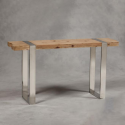Hoxton Rustic Wood and Stainless Steel Console Table