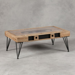 Wood and Metal Retro Cassette Coffee Table