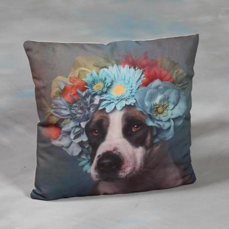 Blue Wreath Dog Cushion