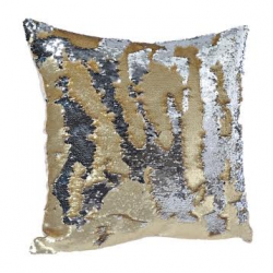 Silver and Gold Square Sequin Cushion