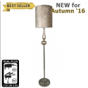 Taupe Pearl Chrome Floor Lamp with 13 inch Crocodile Taupe Shade