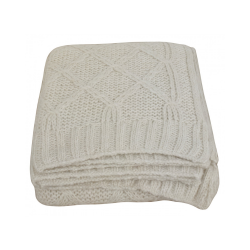 Cream Wool Diamond Throw