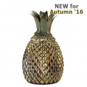 Antique Gold and Glass Pineapple Jar