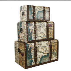 Around the World Vintage Atlas Chest Set of 3