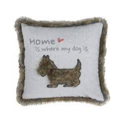 Grey and Brown 'Home is Where my Dog is' Cushion