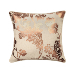 Shiny Copper Floral Cushion