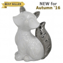 White and Silver Art Deco Fox Decoration (16.5cm)
