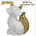 White and Gold Art Deco Fox Decoration (16.5cm)