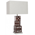 Brown Dice Table Lamp with Rectangular Natural Shade