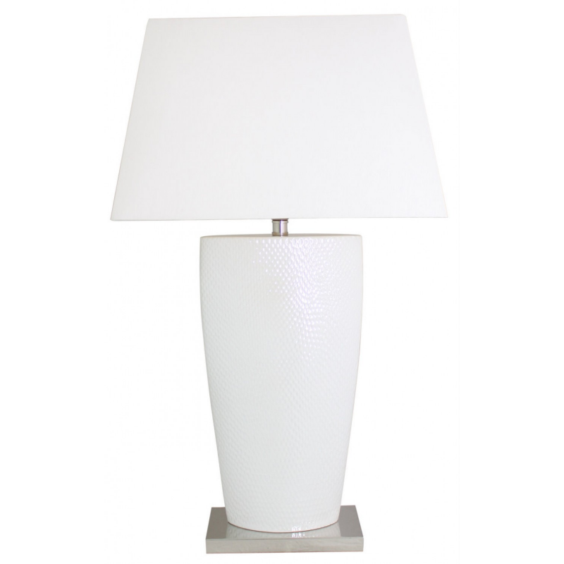 White Bahama Large Table Lamp With White Shade. U2039 U203a