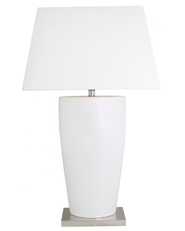 White Bahama Large Table Lamp With White Shade