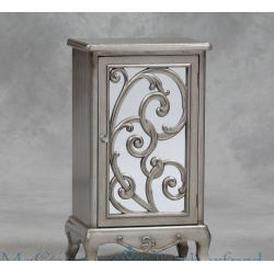 Mirror Fronted Rococo Small Side Cabinet - Antique Silver