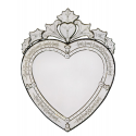 Vintage Venetian Heart Mirror with Crown and Etching