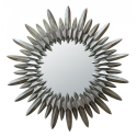 Silver Sunburst Metal Frame Mirror