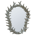 Silver antler frame with bev.mirror