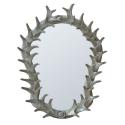 Silver antler frame with bev.mirror