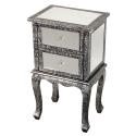 Chaandhi Kar Black-Silver Embossed Mirrored Bedside Cabinet