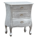 High Gloss - High Gloss Silver Bombe Bedside Chest