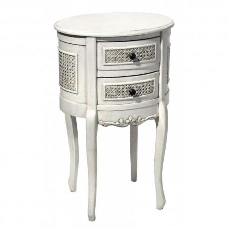 Boudoir Provence Antique White 2-Drawer Bedside Cabinet