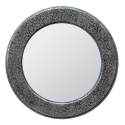 Chaandhi Kar Black Silver Embossed Circular Mirror